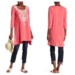 Johnny Was Embroidered Tunic Tee in Dusty Coral